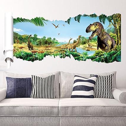 Amazon.com: ZOOARTS Jurassic World Dinosaur Scroll Wall Decals Sticker For  Kidsu0027 Room Decor: Home Improvement