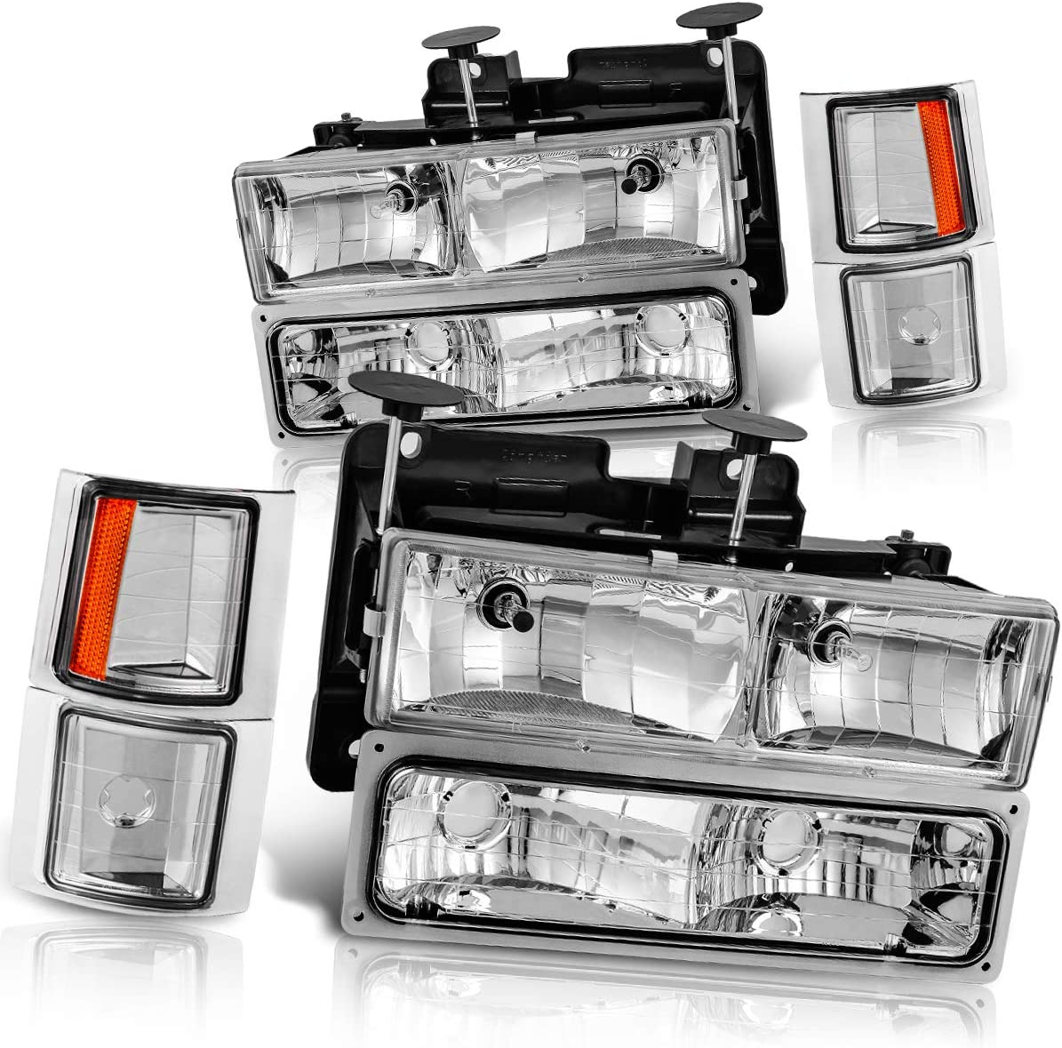 Chevy Tahoe //C//k Series 1500//2500//3500 Chevy C//k Series 1500//2500//3500 Chevy Suburban Chevy Suburban Crystal Headlights w// Corner /& Bumper Black Housing with Clear Lens Chevy Silverado