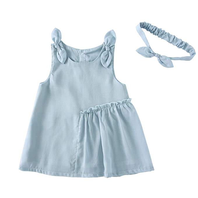 1066a17d8 pureborn Toddler Baby Girl Chiffon Sleeveless Dress with Headband Mint  Bowknot 1-2 Years
