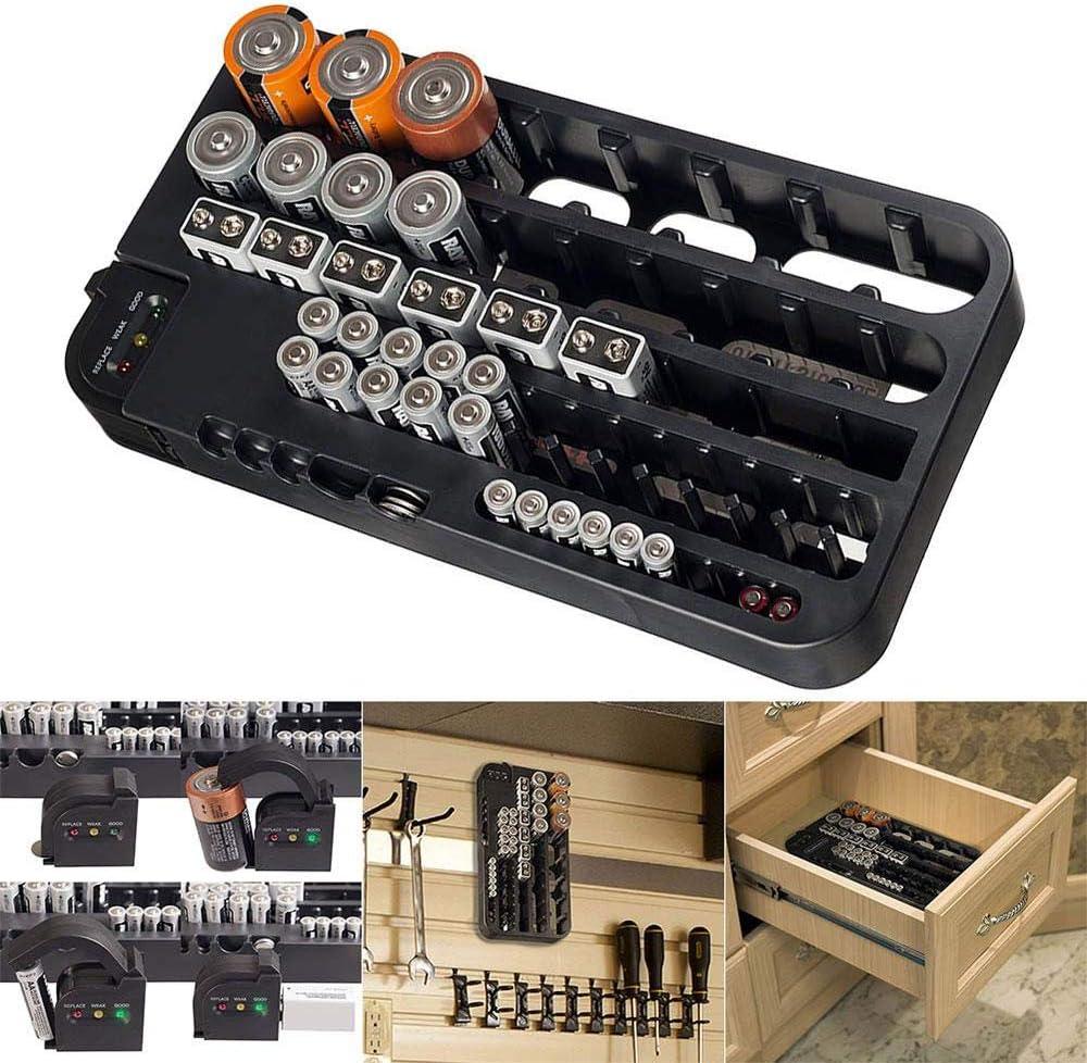 Hamkaw The Battery Organizer /Étui de Rangement avec Couvercle /à charni/ère Transparent Peut contenir 96 Piles diff/érentes Tailles Comprend Un testeur de Batterie Amovible