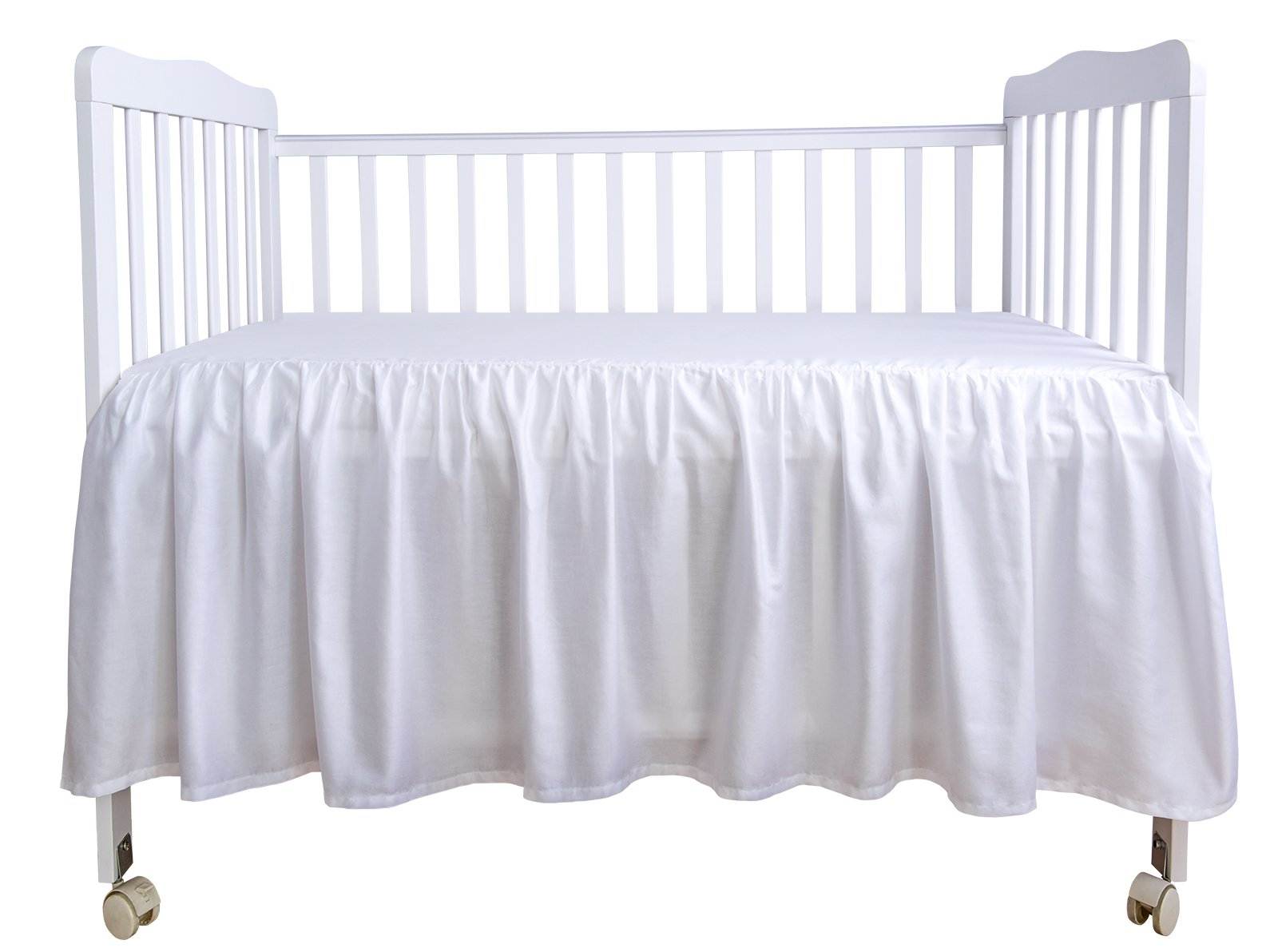 PHF Crib Bed Skirt Dust Ruffle 100% Cotton Nursery Crib Bedding for Baby 17'' Drop Pack of 2 White