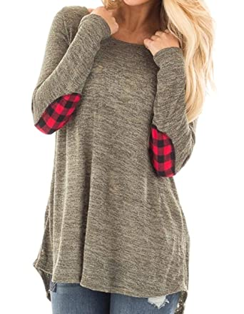 Opkelana Women s Cotton Pullover Sweaters Long Sleeve Elbow Patchwork Tunic  Tops for Leggings at Amazon Women s Clothing store  863cafbae7