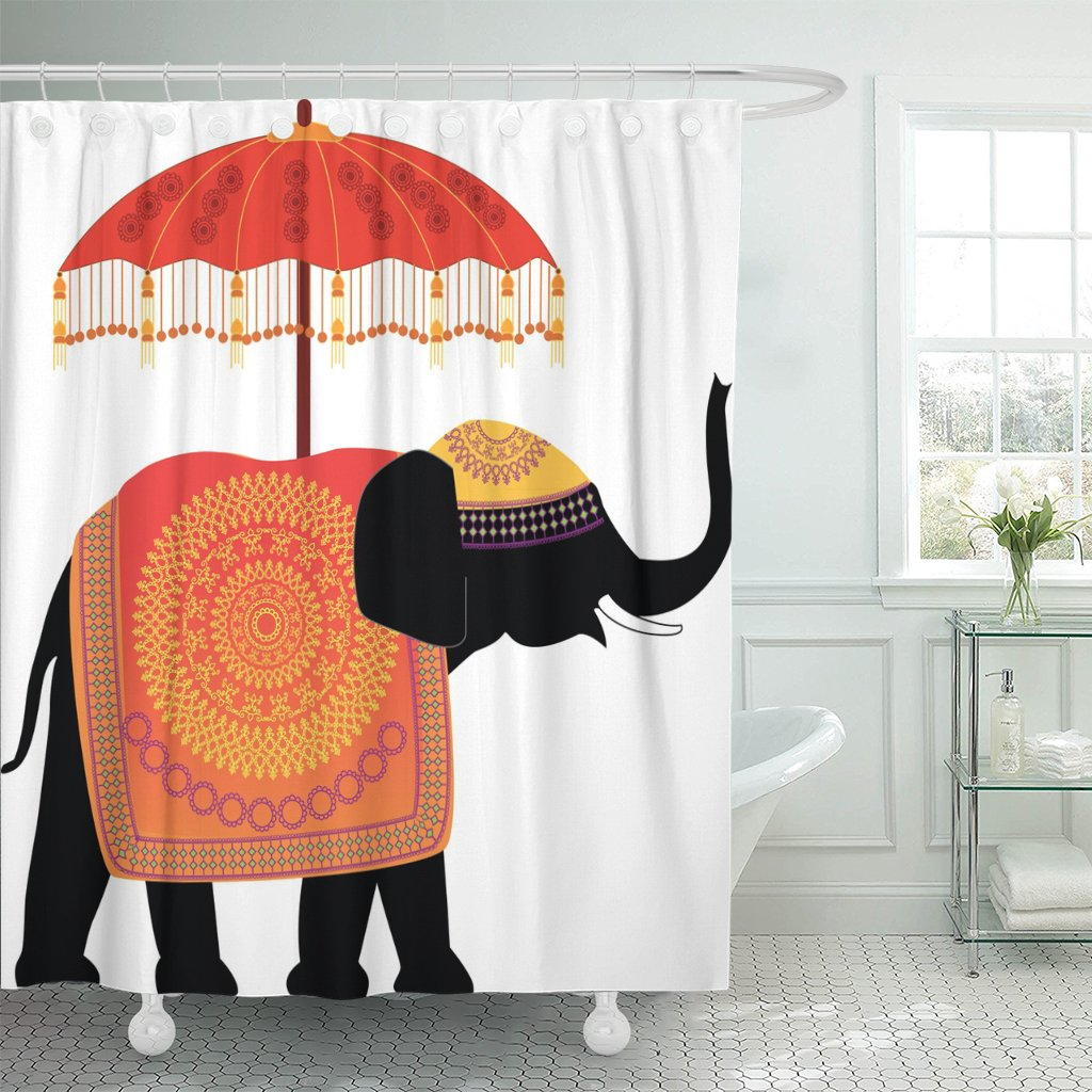 TOMPOP Shower Curtain Umbrella Decorated Indian Elephant Bollywood India Waterproof Polyester Fabric 72 x 72 inches Set with Hooks by TOMPOP (Image #1)