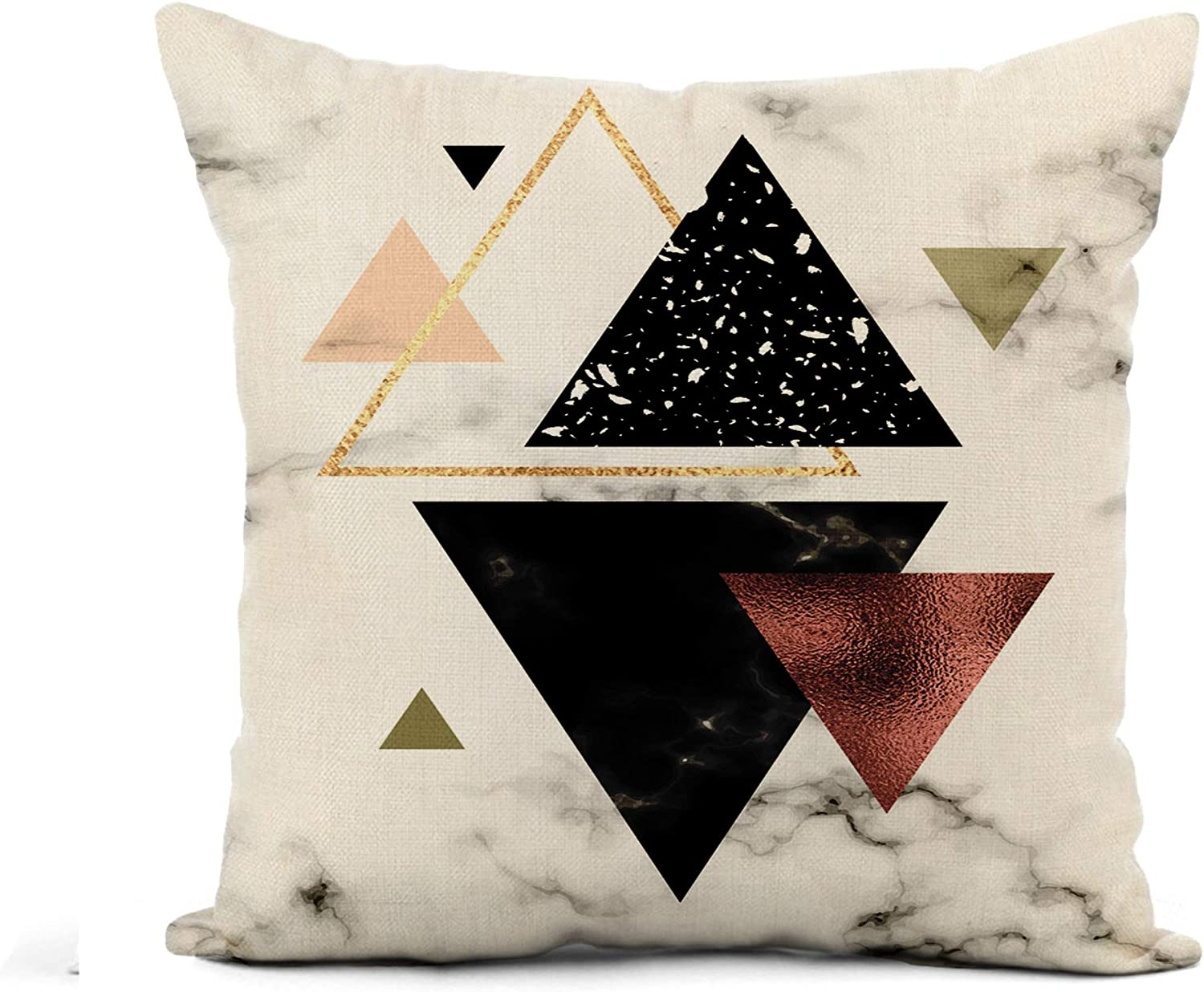Awowee Flax Throw Pillow Cover Shape Marble Geometric Gold Rose and Triangles Elegant Pattern 16x16 Inches Pillowcase Home Decor Square Cotton Linen Pillow Case Cushion Cover