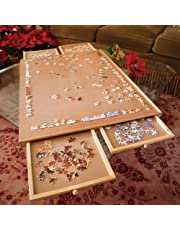Bits and Pieces - Jumbo Size Wooden Puzzle Plateau - Smooth Fibreboard Work Surface - Four Sliding Drawers Complete This Puzzle Storage System