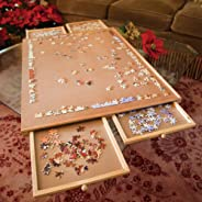 Bits and Pieces - Jumbo Size Wooden Puzzle Plateau-Smooth Fiberboard Work Surface - Four Sliding Drawers Complete This Puzzl