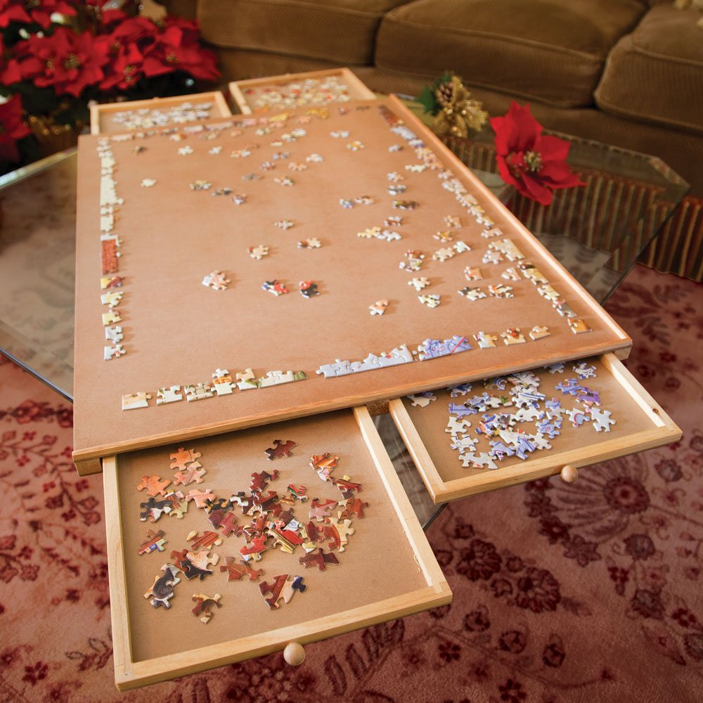 Amazon Com Bits And Pieces Jumbo Size Wooden Puzzle Plateau Smooth Fiberboard Work Surface Four Sliding Drawers Complete This Puzzle Storage System