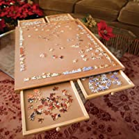 Jumbo Size Wooden Puzzle Plateau-Smooth Fiberboard Work Surface - Four Sliding Drawers Complete This Puzzle Storage System