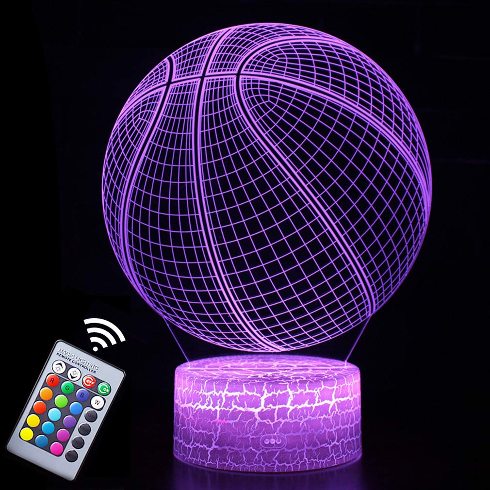Basketball Night Light,3D Illusion Effect Lamp Light Remote Control RGB Colors&Dimmable Bday Xmas Gift Ideas for NBA Sport Lovers Kids Teen Boys Girls(Basketball)
