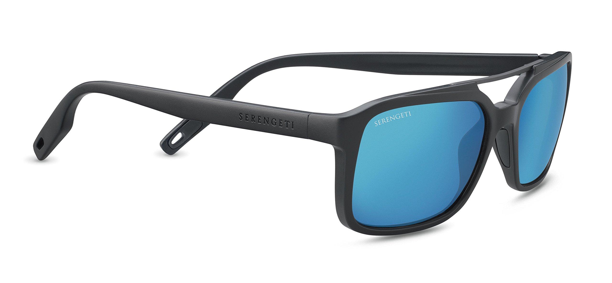 Serengeti Renzo Sunglasses Satin Dark Grey/Satin Dark Gunmetal, Blue
