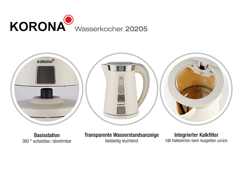 Korona 20205 Wasserkocher 1,7 Liter Automatik-Abschaltung 2200W sand
