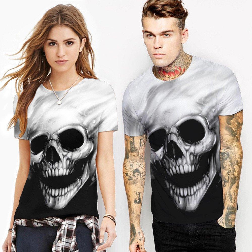 UJUNAOR Camicie Uomo Slim fitMaglietta con Stampa Teschio Uomo Maglietta con Stampa t-Shirt Manica Corta