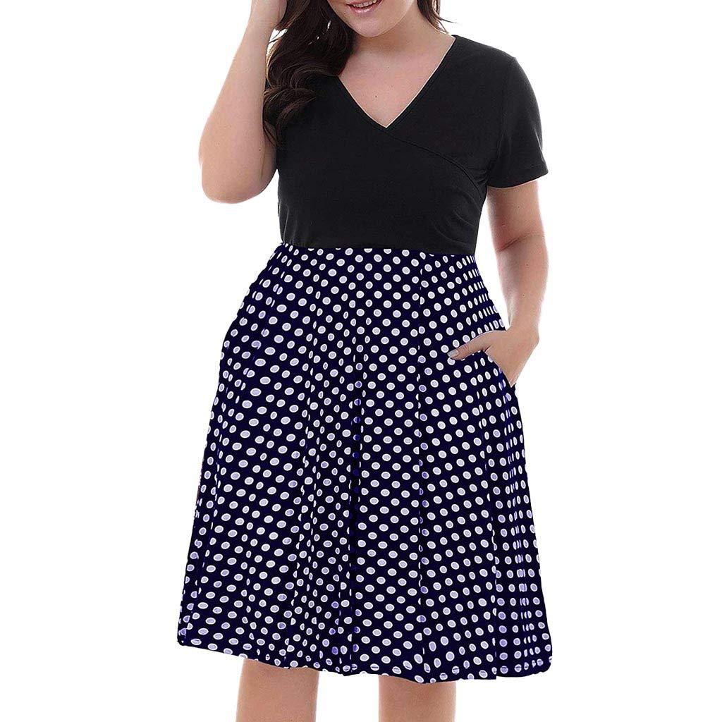 Women's Dresses V-Neck Summer Dress Polka Dot Women's Gown ❀Vine_MINMI❀ Pocket Embroidery Waist Mini Beachwear Navy by Vine_MINMI Dress