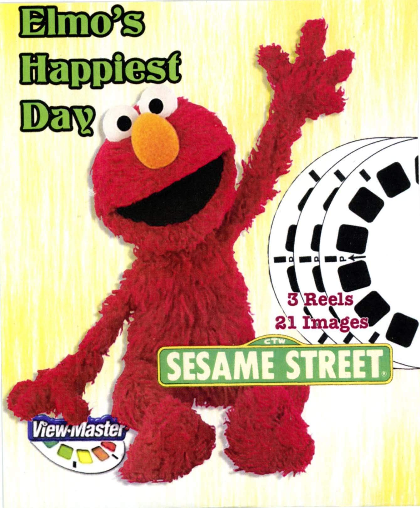 Sesame Elmo's Happiest Day - Classic ViewMaster 3 Reel Set - 21 3D Images - Elmo, Oscar, Grover by 3Dstereo ViewMaster