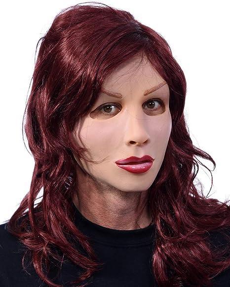 Horror-Shop La Sra máscara de látex con peluca de pelo largo: Amazon.es: Juguetes y juegos