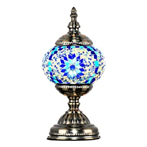 Marrakech Turkish Table Lamp Mosaic Glass Bedside Table Lamp Moroccan Lantern Tiffany Style Night Lights with Bronze Base for Living Room (Blue)