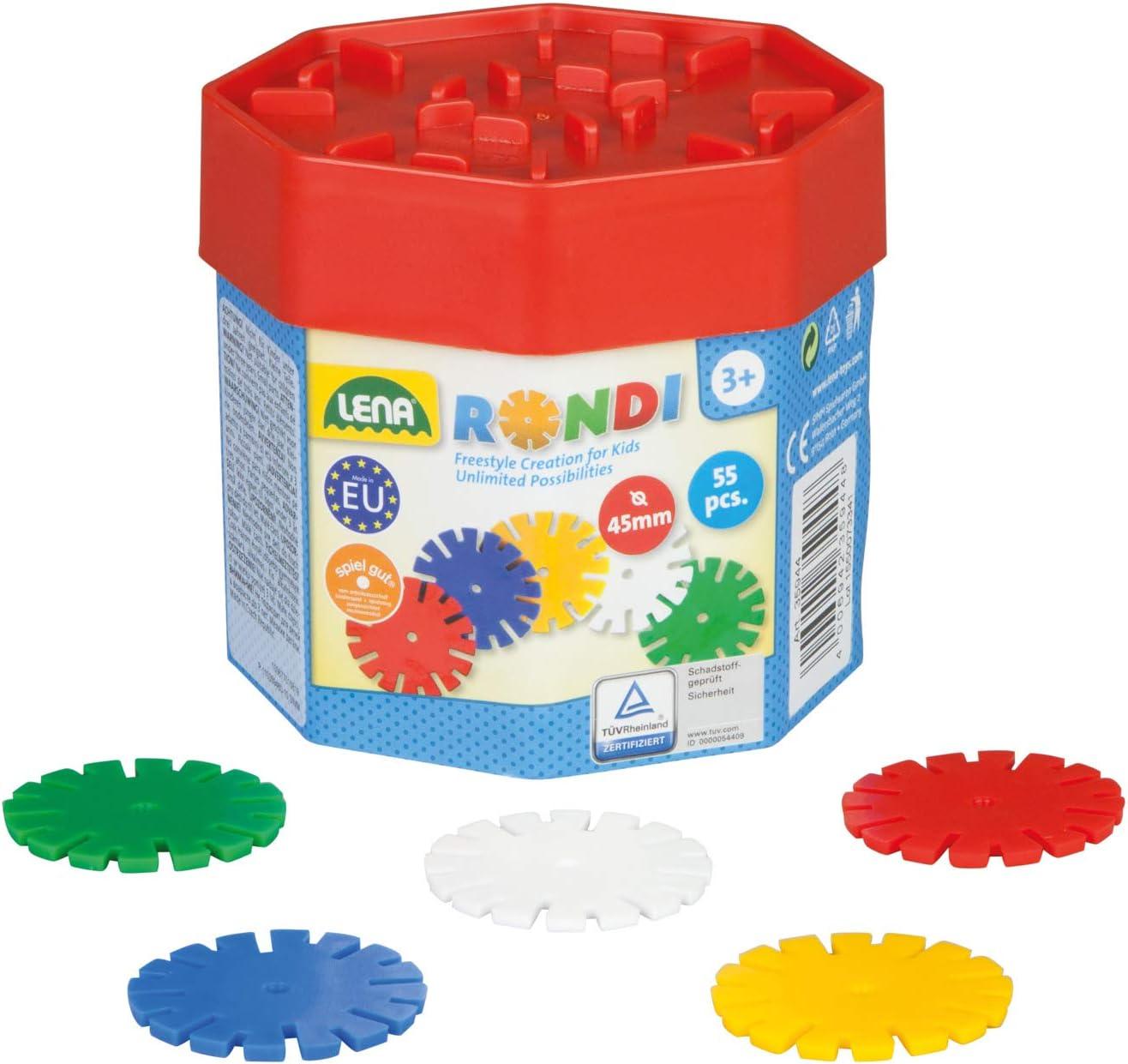 Lena 35946 - Juego enchufable Rondi 45 en caja de construcción, 55 piezas en varios colores, aprox. 45 mm , color/modelo surtido