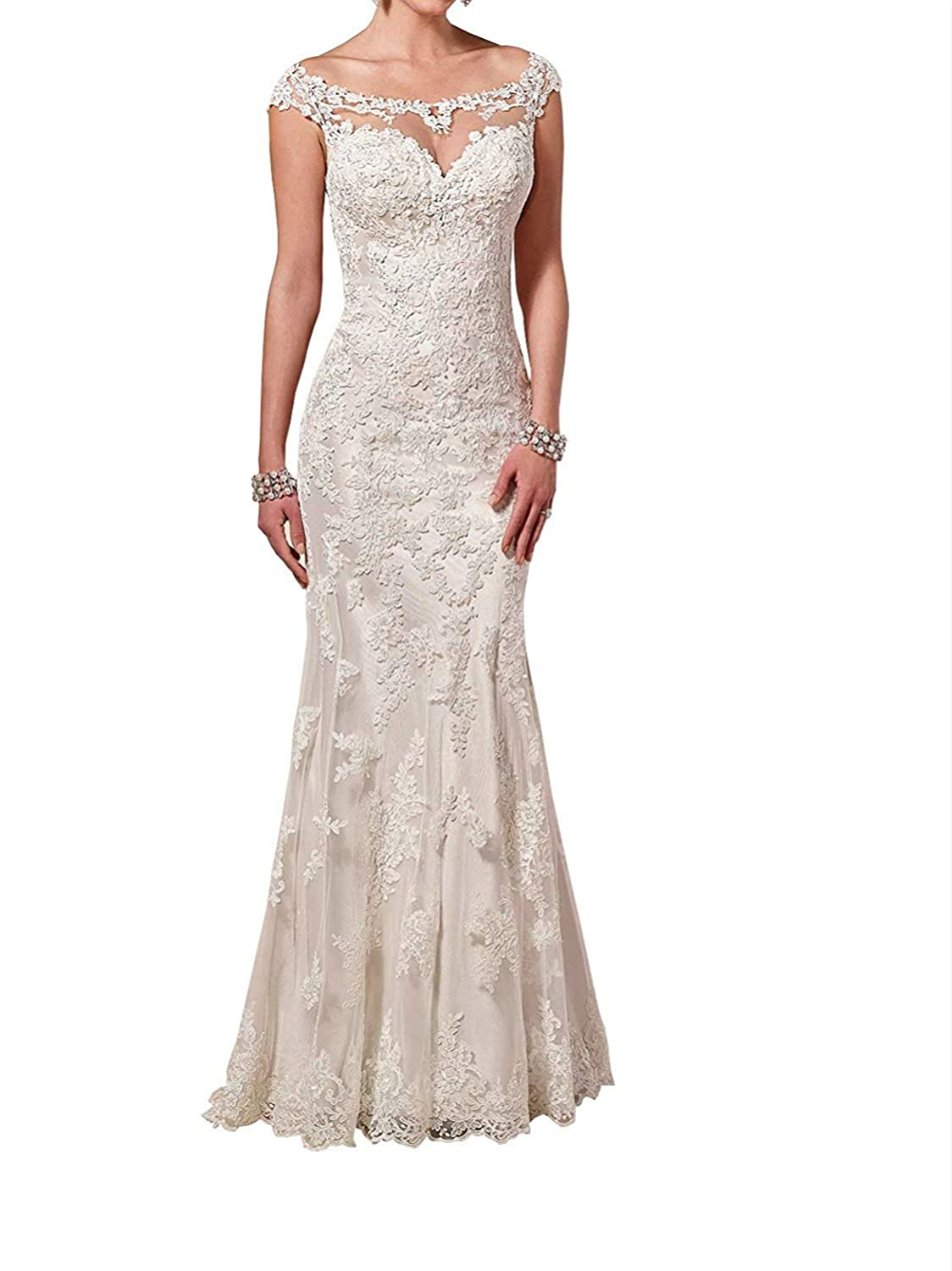 Vepycly Womens Elegant Wedding Dress Sexy Backless Sweetheart Lace