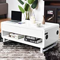 Deals on Costway Bluetooth Speakers Drawer LED Light Modern Coffee Table