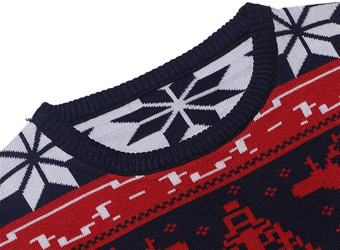 XTX Mens Slim Knitting Merry Christmas Crew Neck Casual Pullover Reindeer Sweater Red L