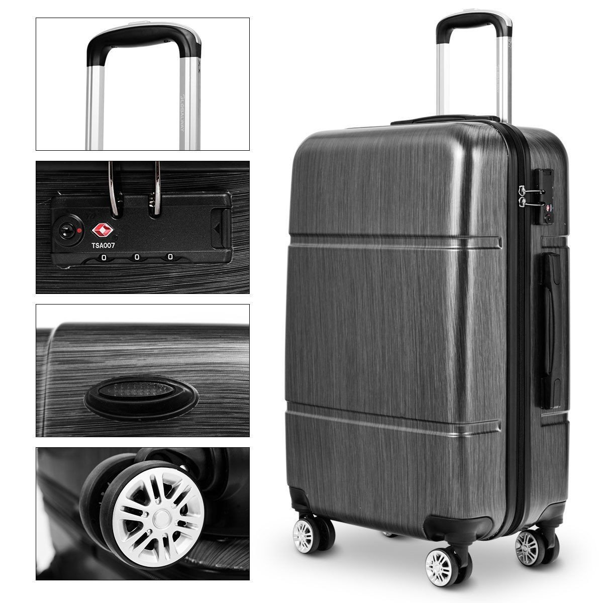 SPECIAL GIFT Only by eight24hours 3 Pcs Luggage Set 20 24 28 Trolley Suitcase TSA Lock Black