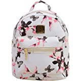 Butterfly Backpack Purse - Floral Print Mini Cute Schoolbag for Girl(White)