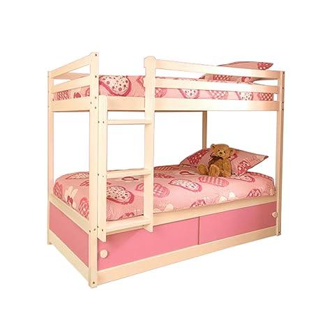 Litera de madera con almacenamiento con sistema de deslizado para niñas, de color