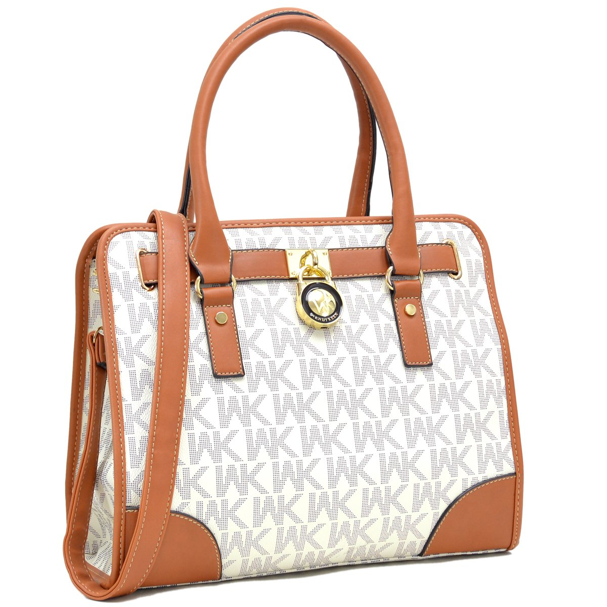 Medium Satchel Purse Designer Handbag Top Handle Shoulder Bag Padlock Brown/White