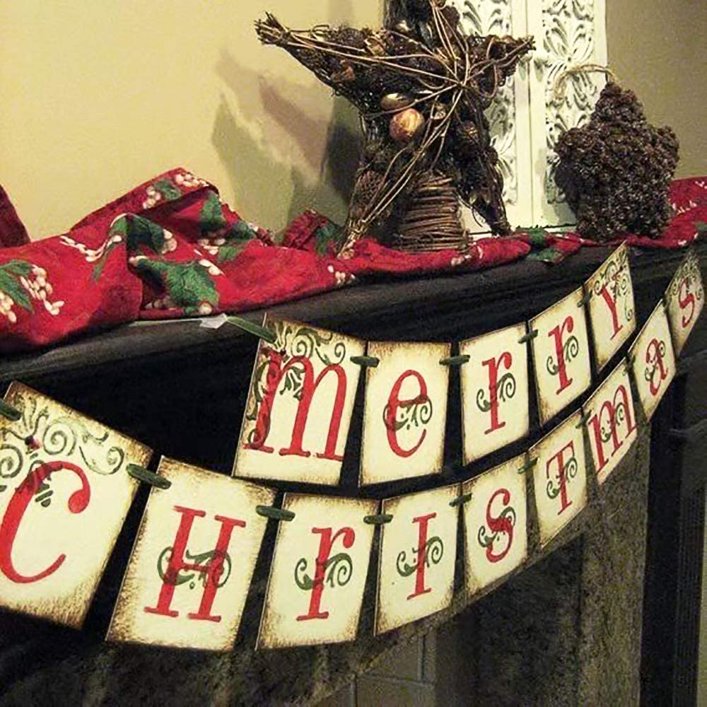 Vintage Xmas Decorations Indoor for Home Office Party Fireplace Mantle ORIENTAL CHERRY Merry Christmas Banner