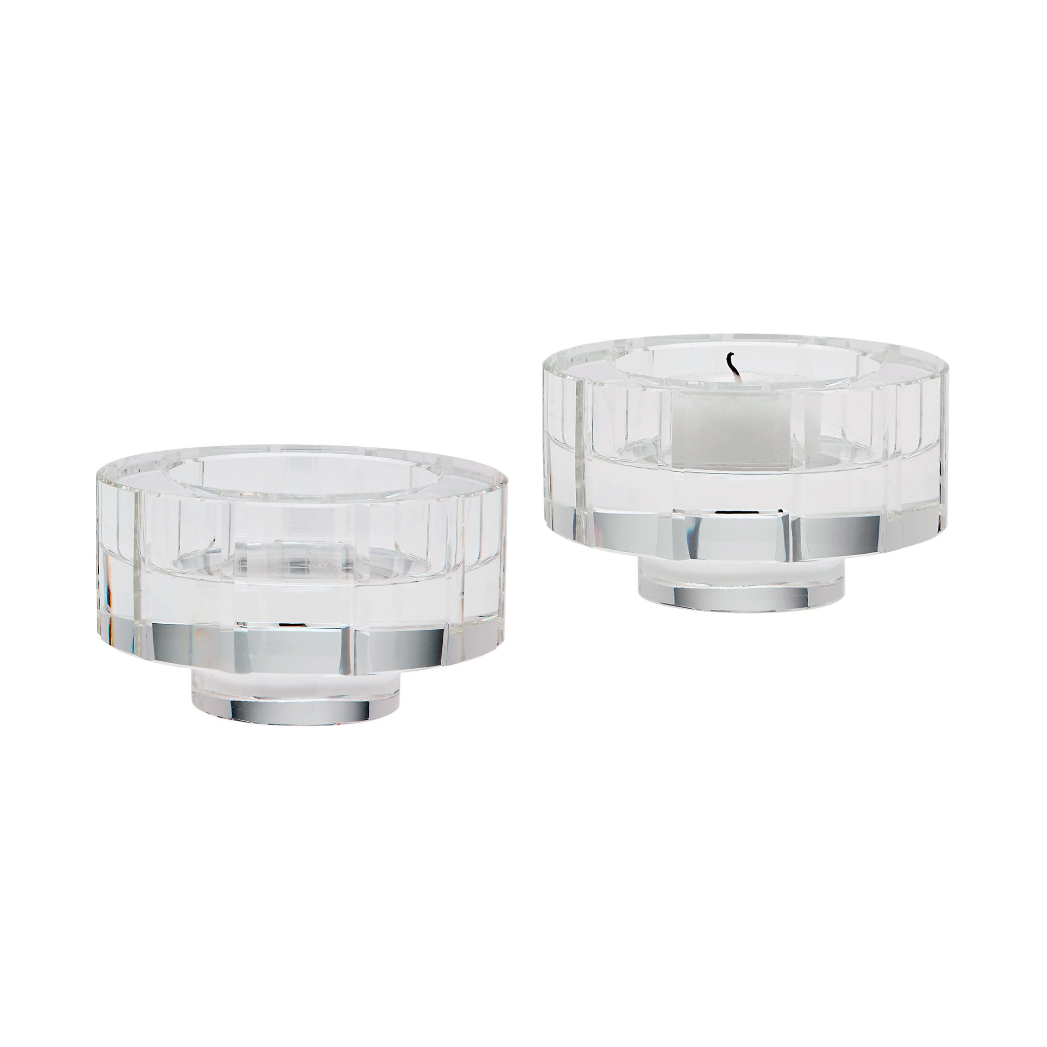 Round Windowpane Crystal Candleholders - Small. Set Of 2