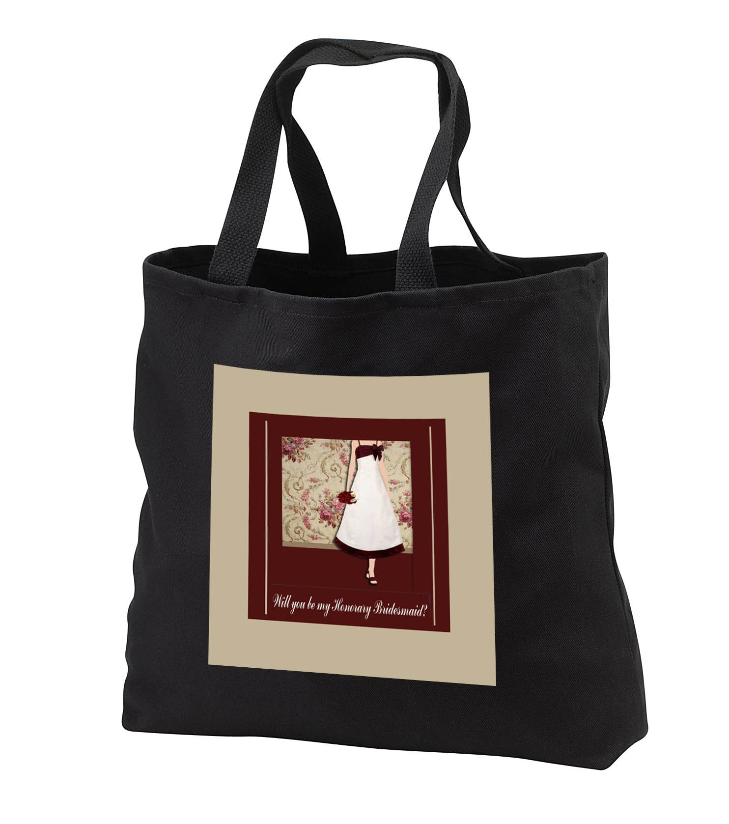 Beverly Turner Wedding Bridal Party Design - Honorary Bridesmaid Request, Lady with Bouquet, Roses Background, Red - Tote Bags - Black Tote Bag 14w x 14h x 3d (tb_282207_1)