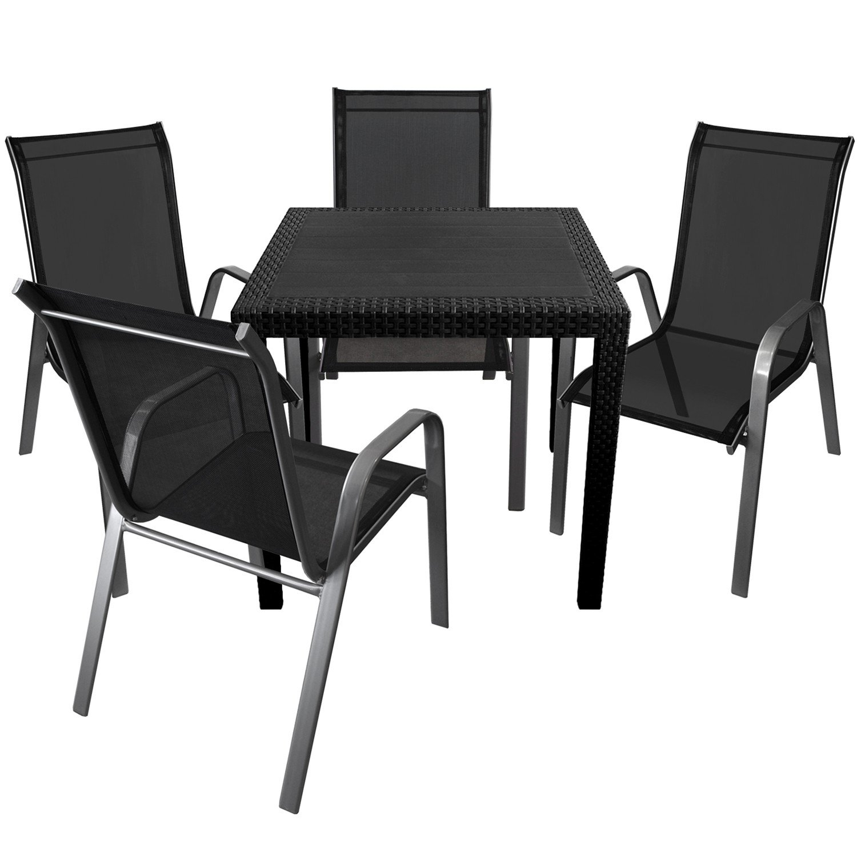 5er Set Gartenmöbel Gartentisch im Rattan-Look 79x79cm + 2x ...