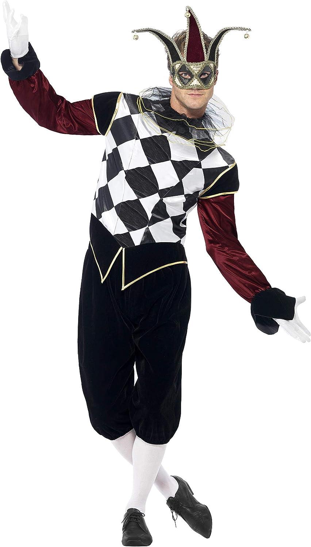 Smiffys-43653M Disfraz de arlequín gótico Veneciano, con Camiseta, pantalón y Cuello, Color Negro, M-Tamaño 38