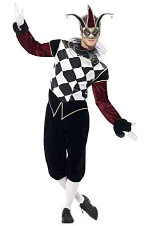 Smiffys Smiffys-43653M Disfraz de arlequín gótico Veneciano, con Camiseta, pantalón y Cuello, Color Negro, M - Tamaño 38