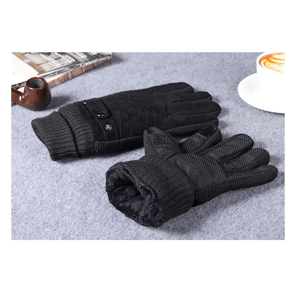 Mens Plus Velvet Warm Autumn And Winter Cold Riding Motorcycle Touch Screen Business Pig Leather Gloves Protect your hands