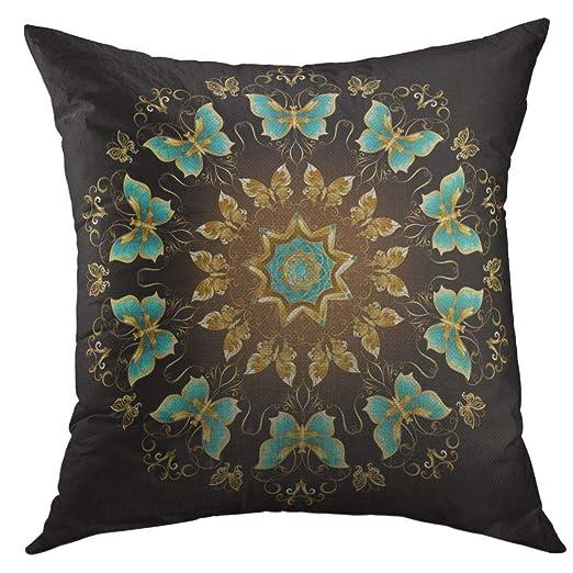 Funda de almohada Círculo Mandala de mariposa de oro ...