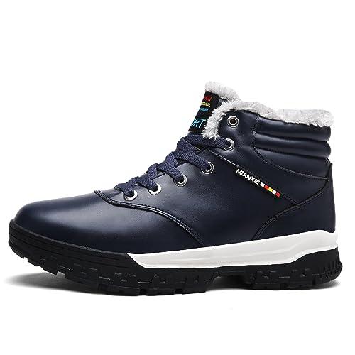 LILY999 Hombre Otoño Invierno Plano Botines Calentar Botas De Nieve Zapatos Deportes al Aire Libre Boots,Azul,42 EU: Amazon.es: Zapatos y complementos
