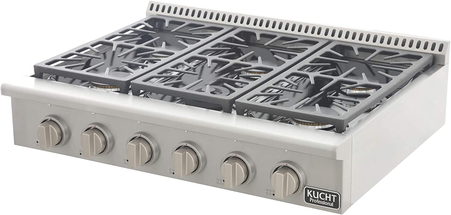 Classic Silver Kucht KRT361GU KRT361GU-S Professional 36 Natural Gas Range-Top with Sealed Burners in Stainless Steel
