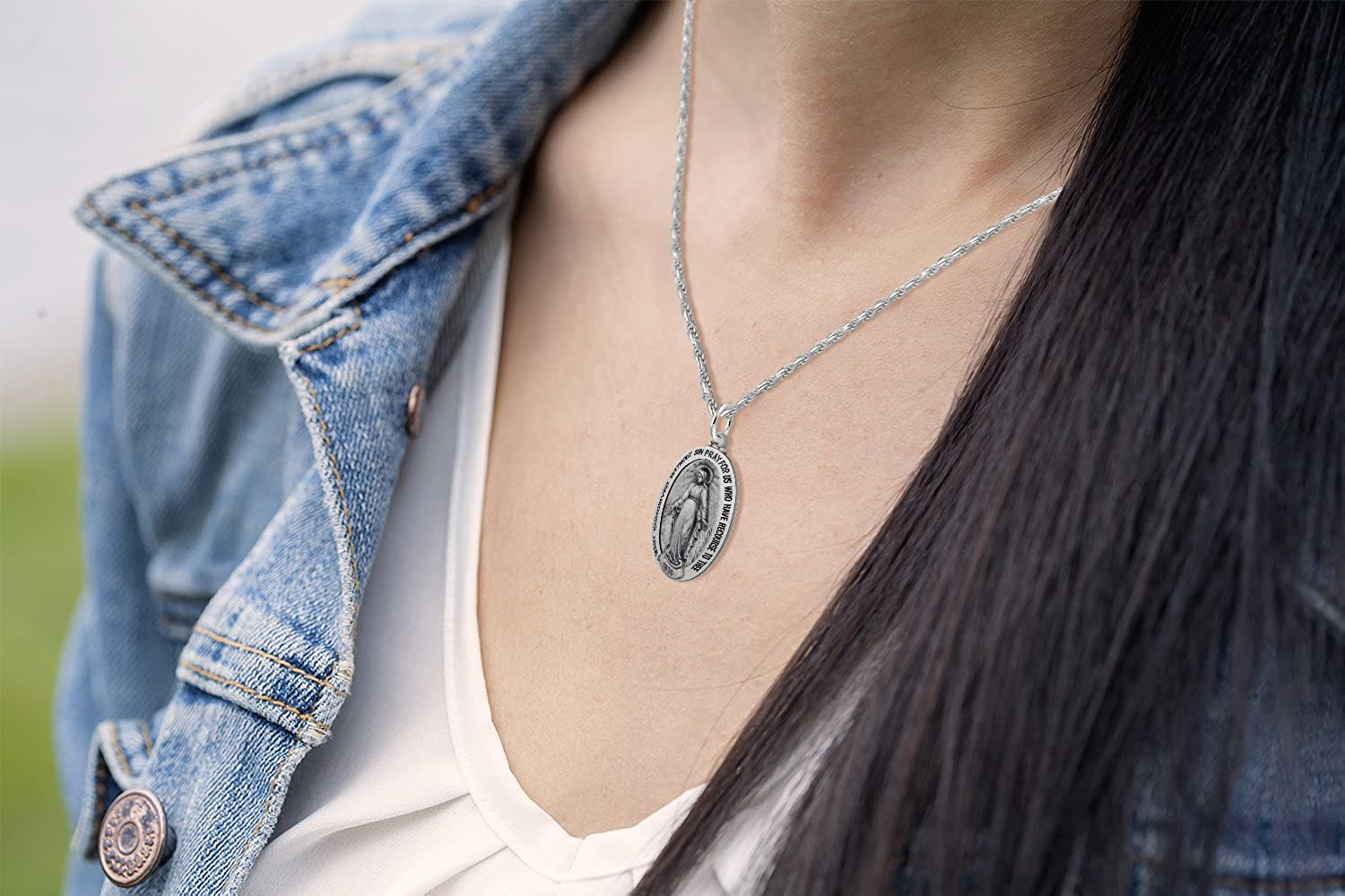 US Jewels And Gems New 0.925 Sterling Silver 0.8 Oval Miraculous Virgin Mary Antique Finish Pendant Necklace 18 to 24