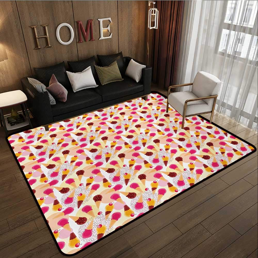 Household Decorative Floor mat,Sweet Taste of Summer Theme Chocolate and Fruity Flavor Cherries Circle Sprinkles 6'6''x8',Can be Used for Floor Decoration by BarronTextile (Image #1)