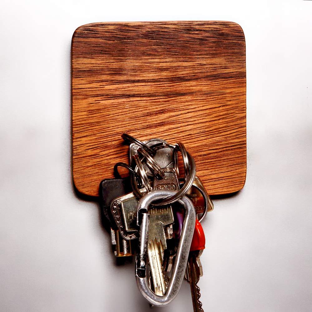 h/ält bis zu 15 Schl/üssel 10 x 10 cm HANDMADE leichte Wandmontage Design Holz Magnet Schl/üsselbrett