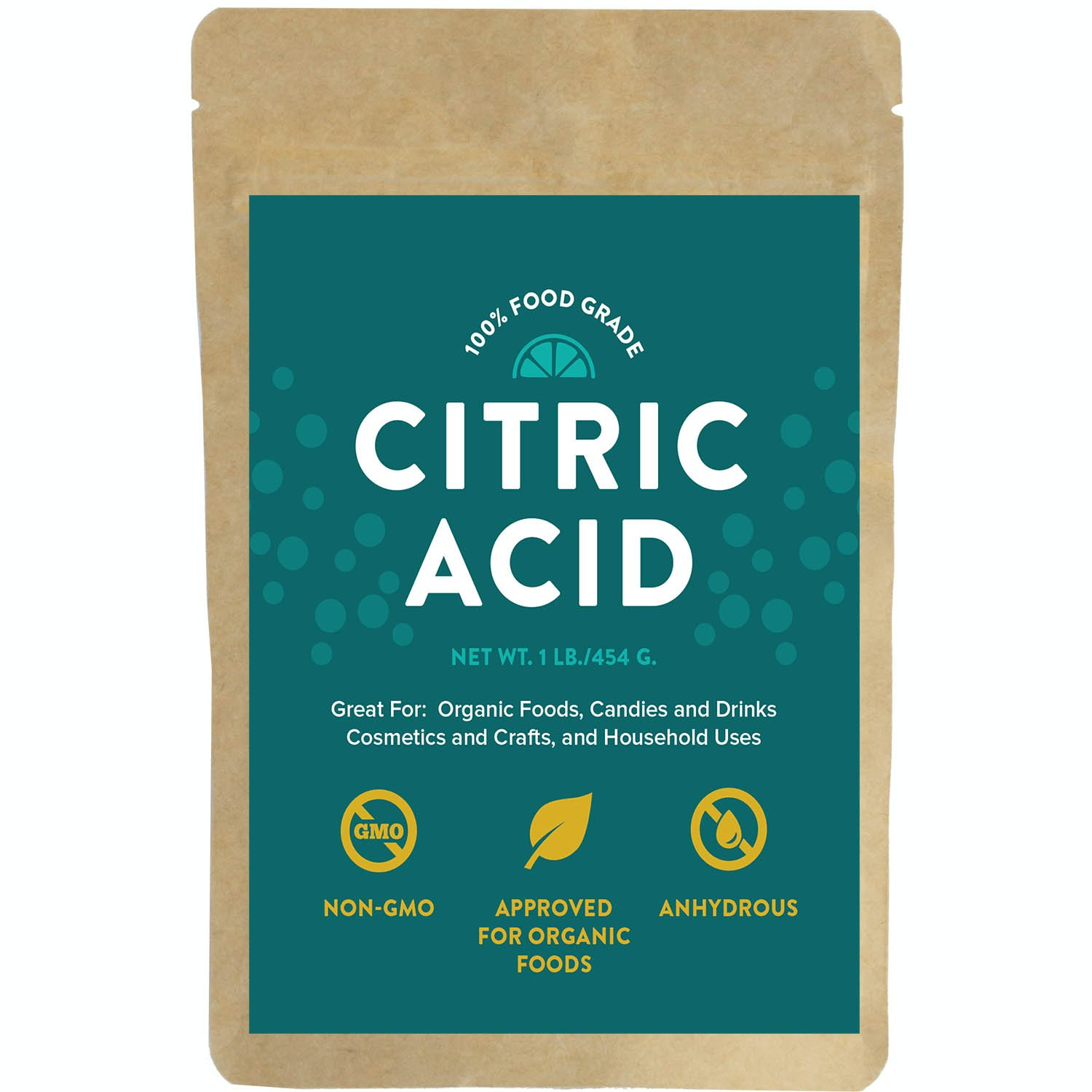 Citric Acid - For Bath Bombs, 1 Pound, 100% Food Grade Powder, Non-Gmo, Approved For Organic Foods, Cosmetics, Crafts and More!