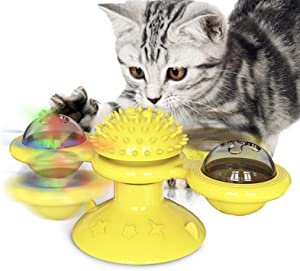 USWT Cat Toy Kitten Toys Cats Supplies, Interactive Puzzle Automatic Scratcher with Catnip Ball, Funny Feather Chase Hunting Toys for Indoor Kitty¡