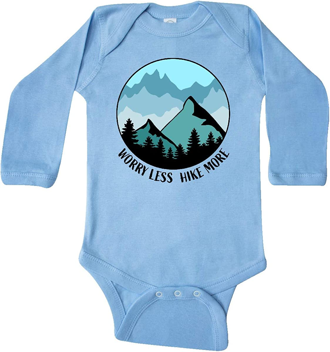 inktastic Worry Less Hike More with Mountains in Blue Long Sleeve Creeper