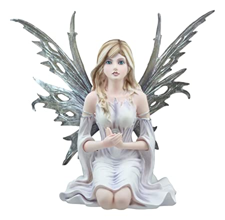 Ebros Large Winter Solstice Purity Fairy With Crystal Sphere Statue 11.75 Tall Goddess Deity Frost White Witch Fairy Home Decor Figurine