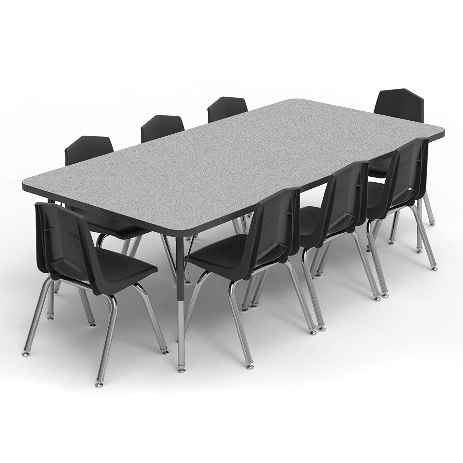 21-30 Standard Size Legs Gray Nebula-Top Navy-Edge Marco Group 36 Round Shaped Classroom Table Adjustable Height