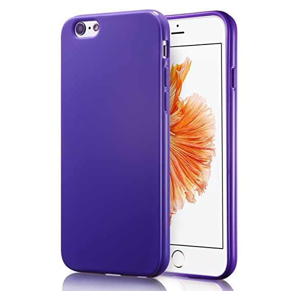 finest selection bcb22 5aec2 iPhone 6S Purple Case, technext020 Shockproof Ultra Slim Fit Silicone TPU  Soft Gel Rubber Cover Shock Resistance Protective Back Bumper for iPhone 6  ...