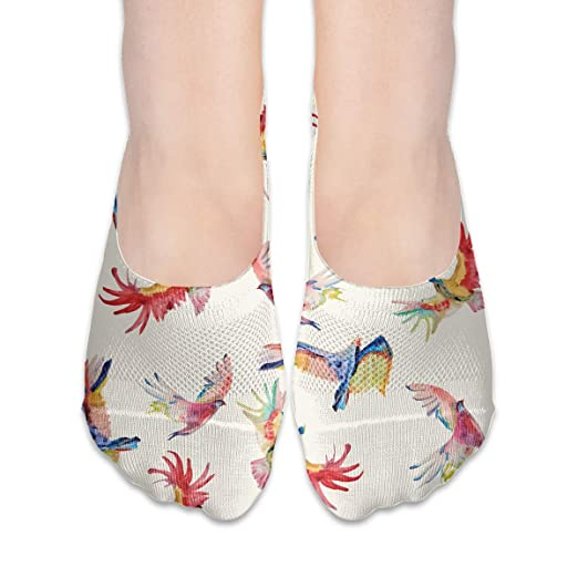 d9b10274ec7f6 No Show Socks Colorful Birds Pattern Low Cut Liner Socks Casual ...