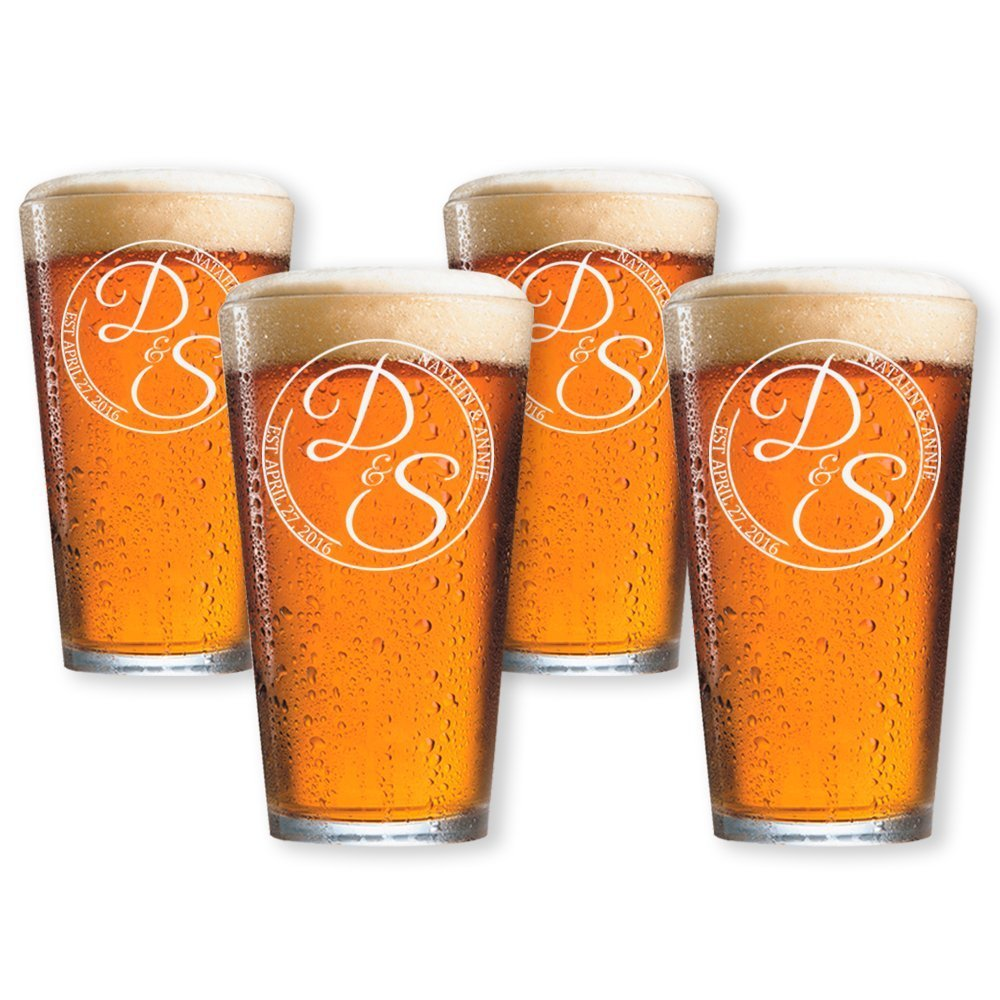 Customized Pint Beer Glasses Set of 4 (Pint 16oz.)