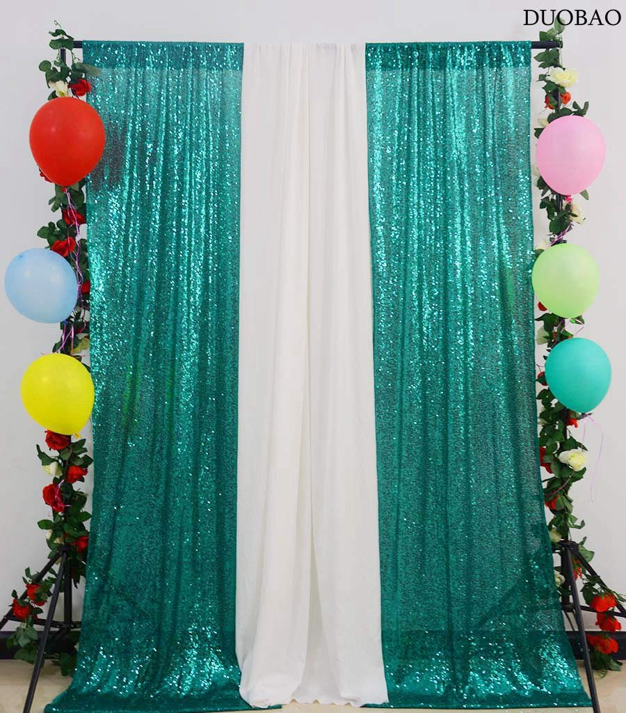DUOBAO Sequin-Curtains-2-Panels-Green Fabric Backdrop Curtain Shimmer Sequin Backdrop Photography Backdrops Graduation Photo Booth Backdrop Mesh Sequin Fabric-4FTx8FT Christmas Green